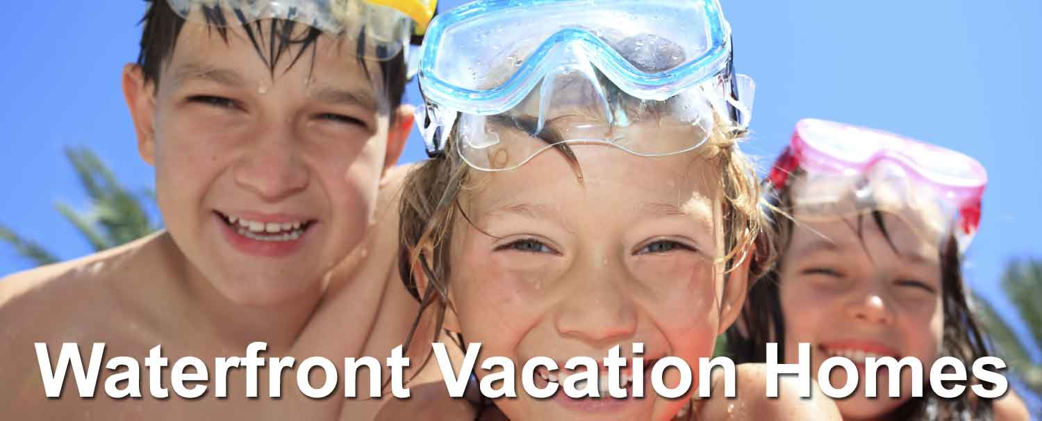 Kids enjoying their waterfront vacation home rental